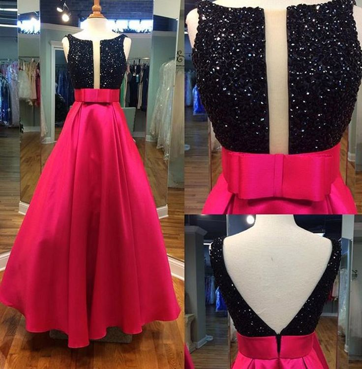 ed V-back Prom Dress with Cut-out, Black A-line Prom Gowns with Beaded Bodice, Discount Prom Dresses,Long prom dress