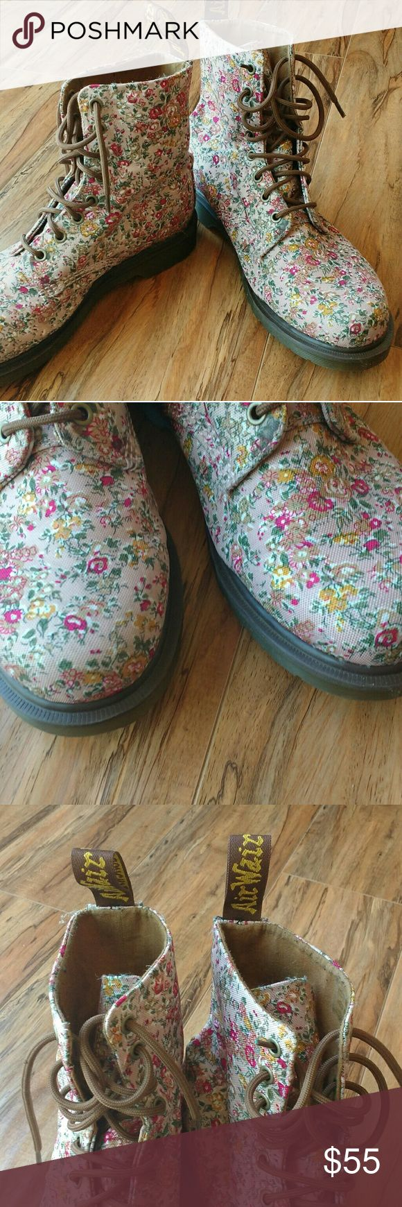 DR Marten's floral combat boots Dr Marten's combat boots. Floral, bouncing air cushion sole. Very good condition. No flaws. Dr. Martens Shoes Combat & Moto Boots
