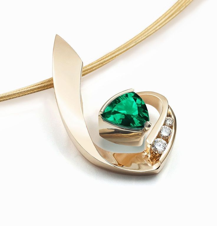 14k gold necklace, emerald necklace, diamond necklace, May birthstone, statement necklace, fine jewelry, green gemstone, luxury gift - 3466 by VerbenaPlaceJewelry #jewelrynecklaces