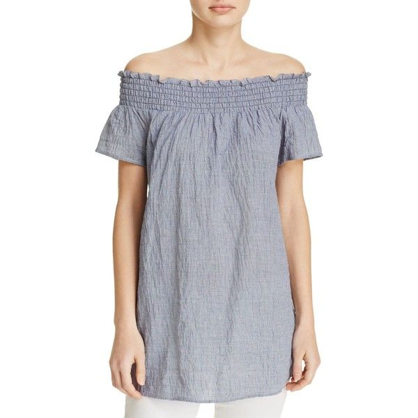 Michael Michael Kors Off-the-Shoulder Gingham Gauze Tunic - 100%... ($83) ❤ liked on Polyvore featuring tops, tunics, navy, checkered top, off shoulder tops, smock top, off the shoulder tops and gauze tunic