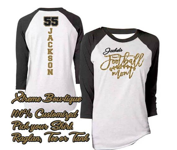Bling Football Mom shirt Raglan Football Mom Shirt