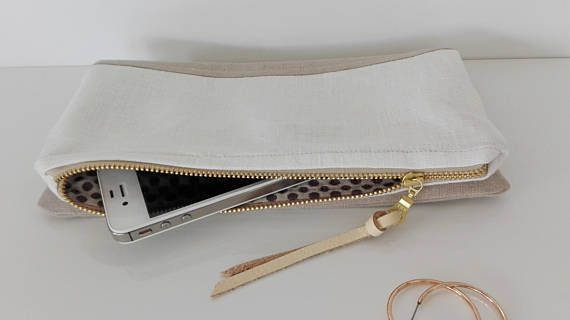 Linen clutch bag lined clutch makeup bag white and natural