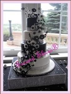 Black and White Wedding Cake by Second Slices® Cakery Inc www.secondslices.ca