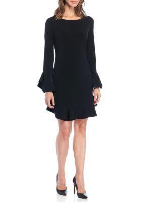 Laundry By Shelli Segal Women's Ruffle Sleeve Shift Dress - Black - 14