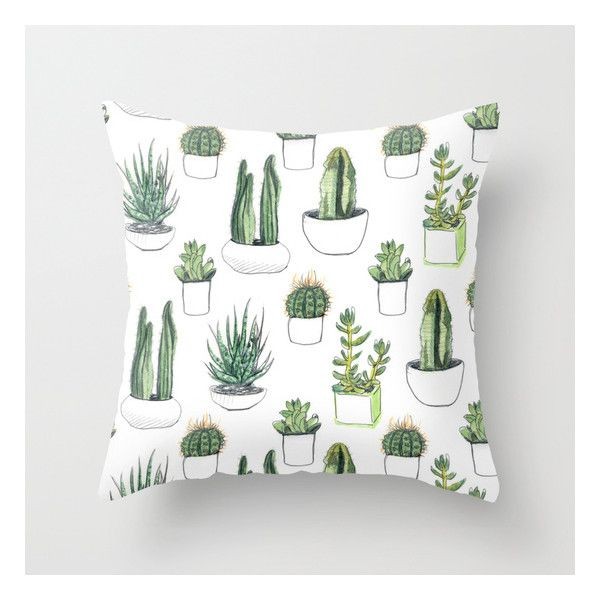 Watercolour Cacti And Succulent Throw Pillow ($20) ❤ liked on Polyvore featuring home, home decor, throw pillows and watercolor throw pillows