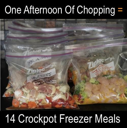 14 Simple Make ahead Crockpot Freezer Meals- spend one afternoon chopping for a couple weeks worth of meals...