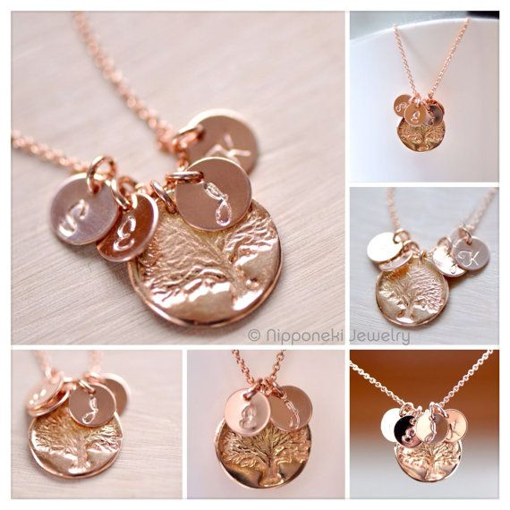 PRE-ORDER Ships In 3-4 Weeks- Mother's Necklace - Rose Gold Initial Charm - Rose Gold Family Tree Charm, Personalized Necklace ,Tree of Life on Etsy, $40.00