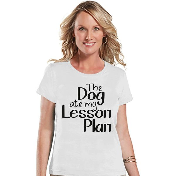Funny Teacher Shirt Dog Ate My Lesson Plan Teacher Gift Teacher... ($18) ❤ liked on Polyvore featuring tops, t-shirts, silver, women's clothing, going out shirts, dog shirts, graphic print t shirts, party t shirts and graphic shirts