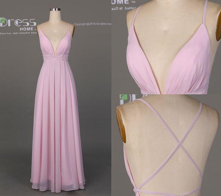 Simple Pink Prom Dress Long/Deep V Neck Prom Dress/Sexy Party Dress/Pink Chiffon Prom Dress/ Long Pink Prom Dress DH512 by DressHome on Etsy https://www.etsy.com/listing/269335448/simple-pink-prom-dress-longdeep-v-neck