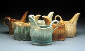 Hand built pottery pitchers