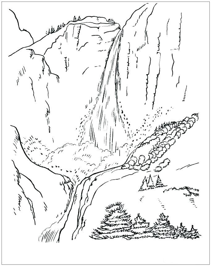 Waterfall 3 Coloring Page Coloring Pages Coloring Pages For
