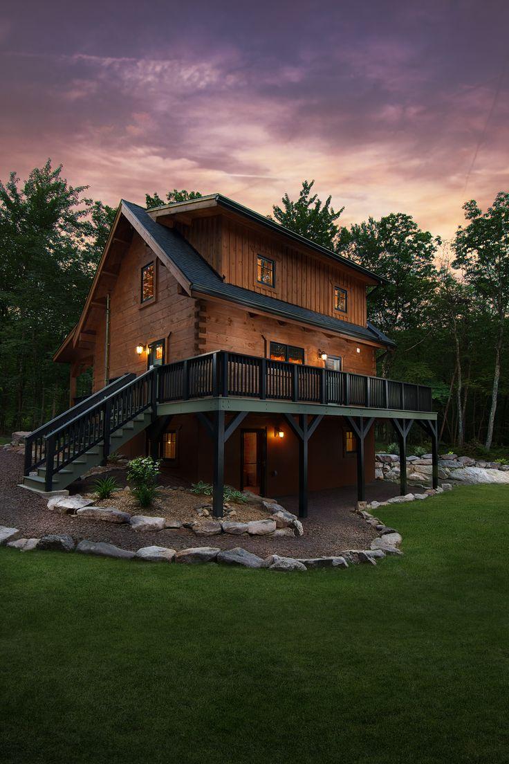 Log home builders nova scotia - Exterior Of Log Home Log Home Exterior Log Home With Rear Porch Small