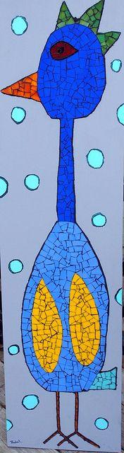 Mosaic Stained Glass Chicken by Rachel K. Jones