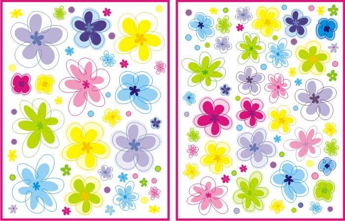 Samolepky na zeď - Květiny - 1 m2 | Samolepky na zeď - Samolepky na zeď dětské - KVĚTINY, LOUKY, MOTÝLI
