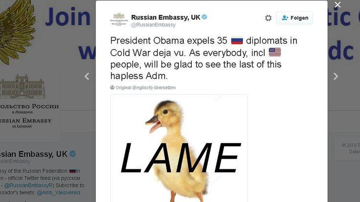 """Sanktionen von der """"lame duck"""": Russische Botschaft verspottet Obama"""