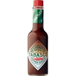 Tabasco Smoked Chipolte Pepper Sauce 150ml  TABASCO® Chipotle (pronounced chee-poht-lay) Pepper sauce, a unique sauce, is made from red jalapenos dried slowly over smoldering pecan wood, producing a full flavoured spicy sauce with a dense smoky flavour.    With unique origins with the Aztecs, TABASCO® Chipotle Pepper sauce produces a thick bodied sauce perfect as a sauce condiment or for grilling and marinating chicken, steak, pork, vegetables and much more.  Price per 150ml Bottle - $14.98…