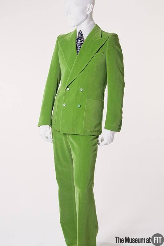 Green velveteen Yves Saint Laurent Rive Gauche suit, c.1972. Via the #MuseumatFIT #QueerFashion
