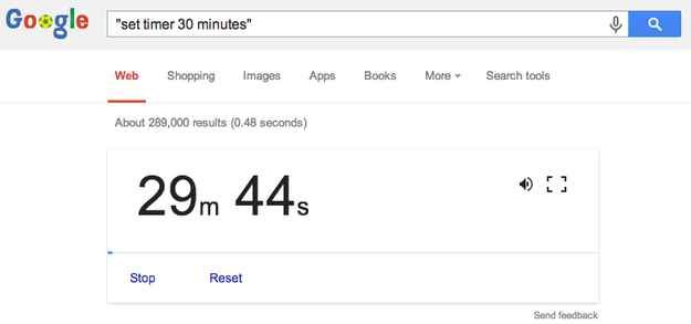Use Google as a timer: | 21 Google Search Hacks That Will Change Your Life