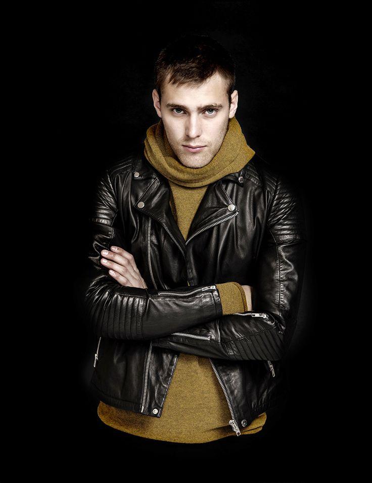 RVLT - men's fashion. Rock 'N' Roll leather jacket with biker details.