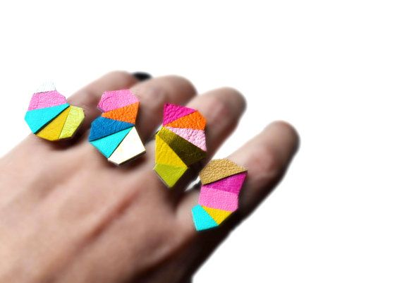 Neon Geometric Leather Ring Triangle by BooandBooFactory on Etsy, $18.00