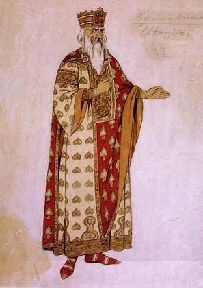 Costume design (1913), by Ivan Bilibin [Иванъ Яковлевичъ Билибинъ] (1876-1942), for Svetozar, in Ruslan and Lyudmila [Русланъ и Людмила], by Mikhail Glinka [Михаилъ Ивановичъ Глинка] (1804-1857).