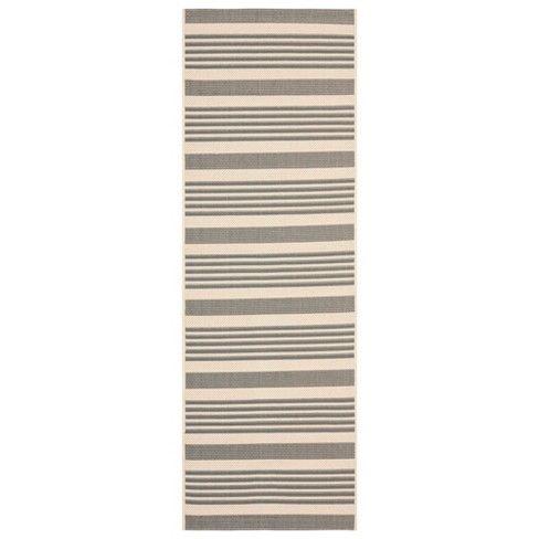 Santorini Runner 2'3″X14′ Patio Rug – Gray/Bone – Safavieh , Gray/Ivory