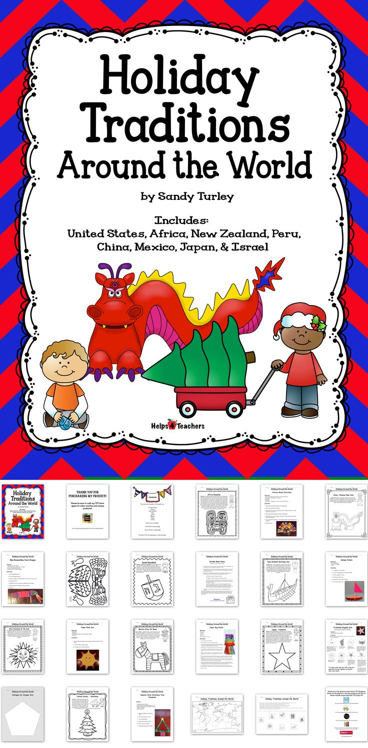 $ This K-2 packet includes 20 pages that focus on 8 different countries. Each country includes a history/coloring page and a game or craft. The countries included are: AFRICA MEXICO JAPAN UNITED STATES CHINA ISRAEL NEW ZEALAND PERU A map activity sheet of the countries covered is included. Visit: http://www.teacherspayteachers.com/Store/Helps4teachers