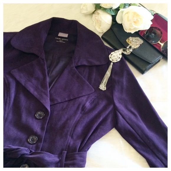 Laura Scott Jacket sz M Beautiful, deep purple Jacket with tie at waist. Sz M, polyester/spandex blend. In flawless condition, from a pet/smoke free home. Laura Scott Jackets & Coats