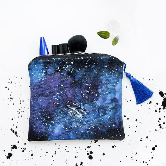 Pouch Galaxy hand painetd pencil case cosmetic bag travel #constellation #stars #fashion