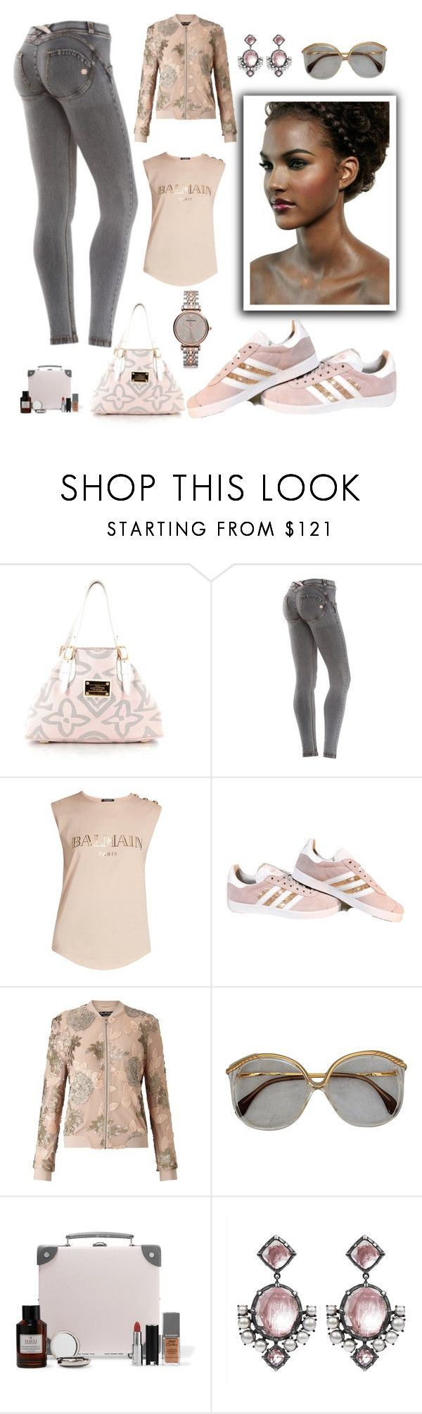 """Simply Beautiful"" by ohitsjanedoe ❤ liked on Polyvore featuring Louis Vuitton, We Are Replay, Balmain, Miss Selfridge, Globe-Trotter, Larkspur & Hawk and Emporio Armani"