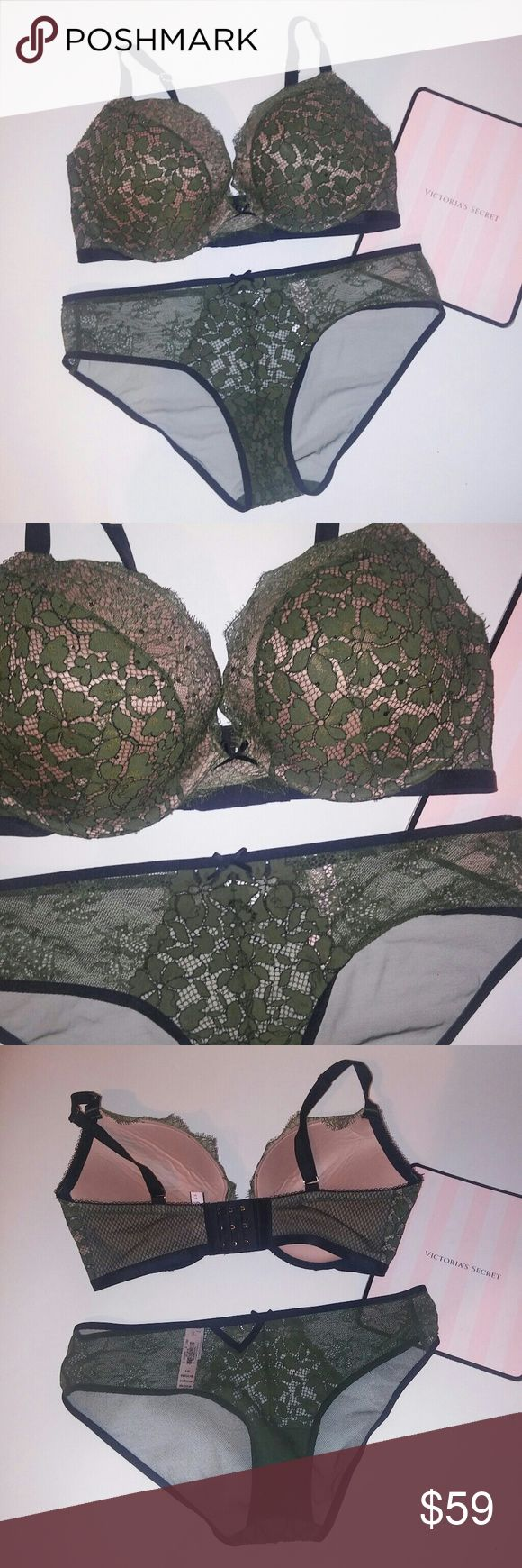Victoria Secret Bra Set Victoria Secret Bra Set, New with Tags, chavonne11 36DD bra dream angels push up large hipkini panty green bling lace Victoria's Secret Intimates & Sleepwear Bras
