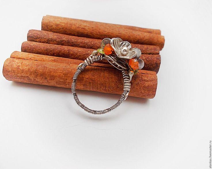 """Купить Кольцо """"Мечты о лете"""" Серебро, сердолик, хризолит - серебро 925 пробы, рыжий, кольцо"""