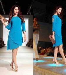 Buy BLUE DESIGNER STITCHED KURTI long-kurti online