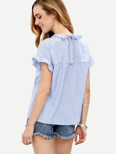 Shop Blue Striped Peter Pan Collar Short Sleeve Blouse online. SheIn offers Blue…