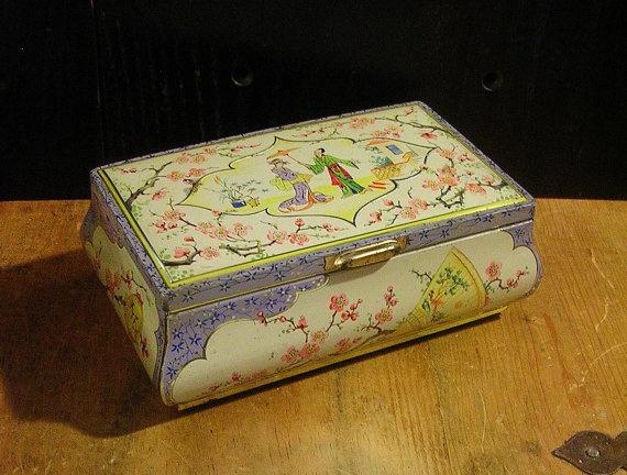 Vintage Lavender & White Tin Box with Asian Motifs by tinprincess, $35.00