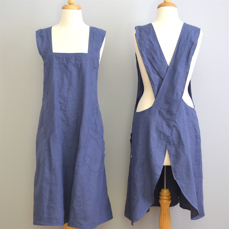 Adult 100% stonewashed French linen crossover apron in Marine Blue colour