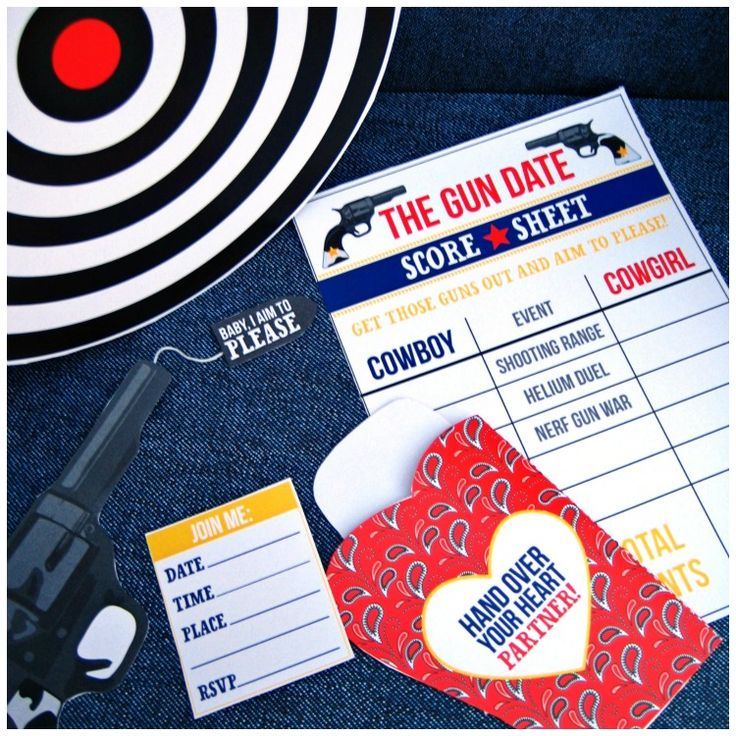 """Shooting Range Date Night in a Box- Would need to make this a date """"day""""- add bullets, targets, shooting safety equipment and other things to the box."""