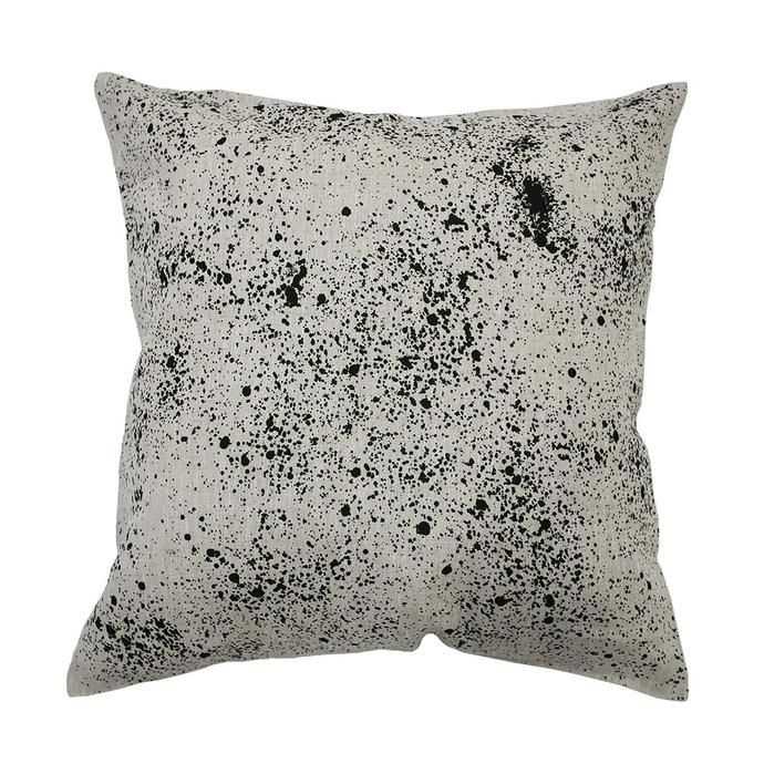 oatmeal linen cushion with black splashes