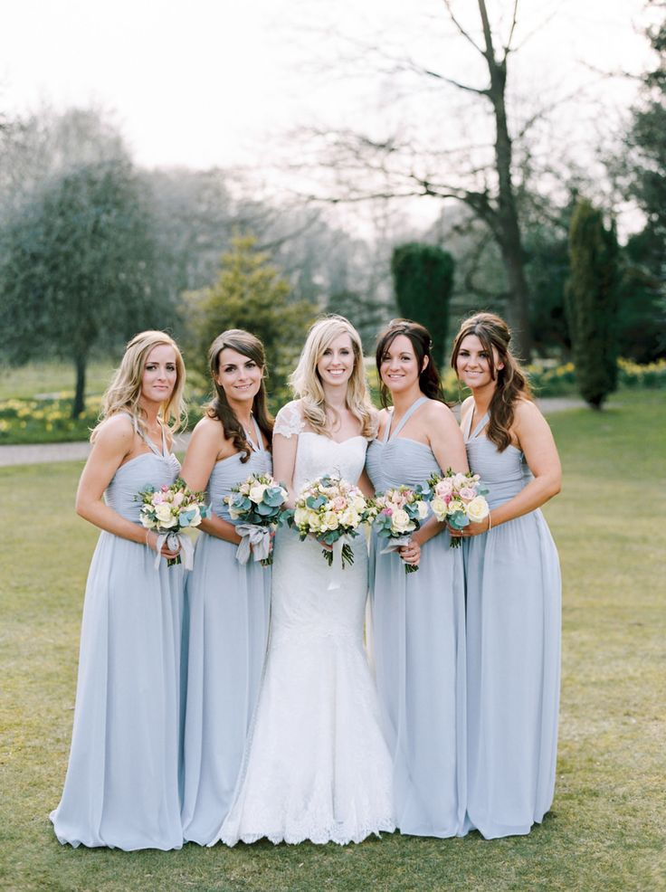 Grey / blue halter neck Ted Baker Gowns - Image by Christian and Erica Film Photography - Dominique Sassi Holford Gown and Jimmy Choo Shoes for a classic wedding at Iscoyd Park with Grey Ted Baker Bridesmaid Dresses, Groomsmen in Navy Reiss Suits and pastel florals.