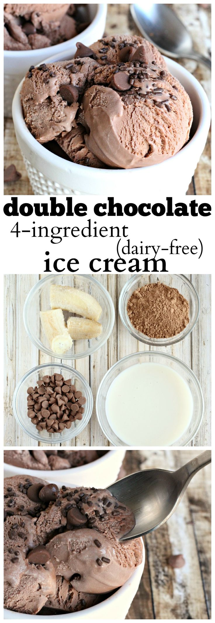 "Double Chocolate ice cream, made dairy free with only 4 ingredients. A rich chocolate ""ice cream"" treat for those avoiding dairy."