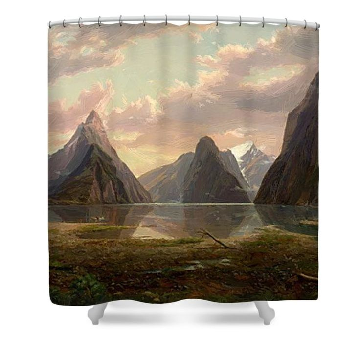 Milford Shower Curtain featuring the painting Milford Sound New Zealand by von Guerard Eugene