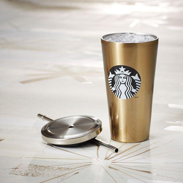 Cold Cup Tumbler - Gold Logo, 16 fl oz | Starbucks® Store