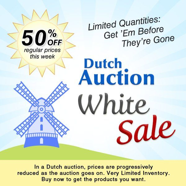 Dutch Auction White Sale: 50% off regular prices. Don't miss out, limited-inventory jewelry-making supplies have already sold out.