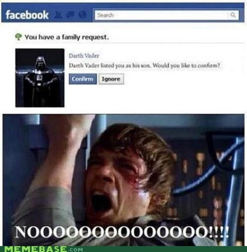 Darth Vader / Luke Skywalker: Families Request, Darth Vader, Awkward Moments, Sons, Facebook, Stars War, Things, Funnies Stuff, Starwars