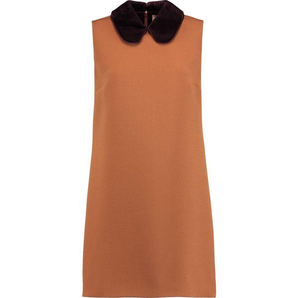 Roksanda Kusama cady mini dress (1.255 BRL) ❤ liked on Polyvore featuring dresses, light brown, mini dress, light brown dress, short dresses, loose mini dress and peter pan collar dress