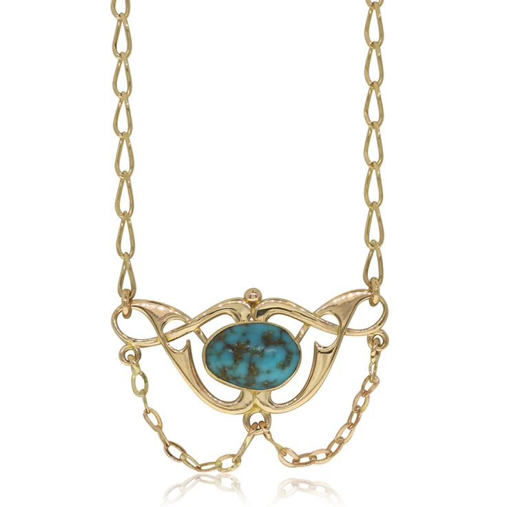 Vintage 9ct rose gold turquoise pendant