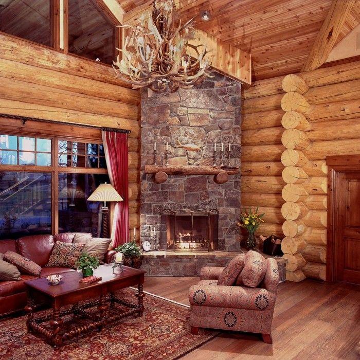 rustikale holzwaende wohnzimmer einrichten ideen kamin und steine
