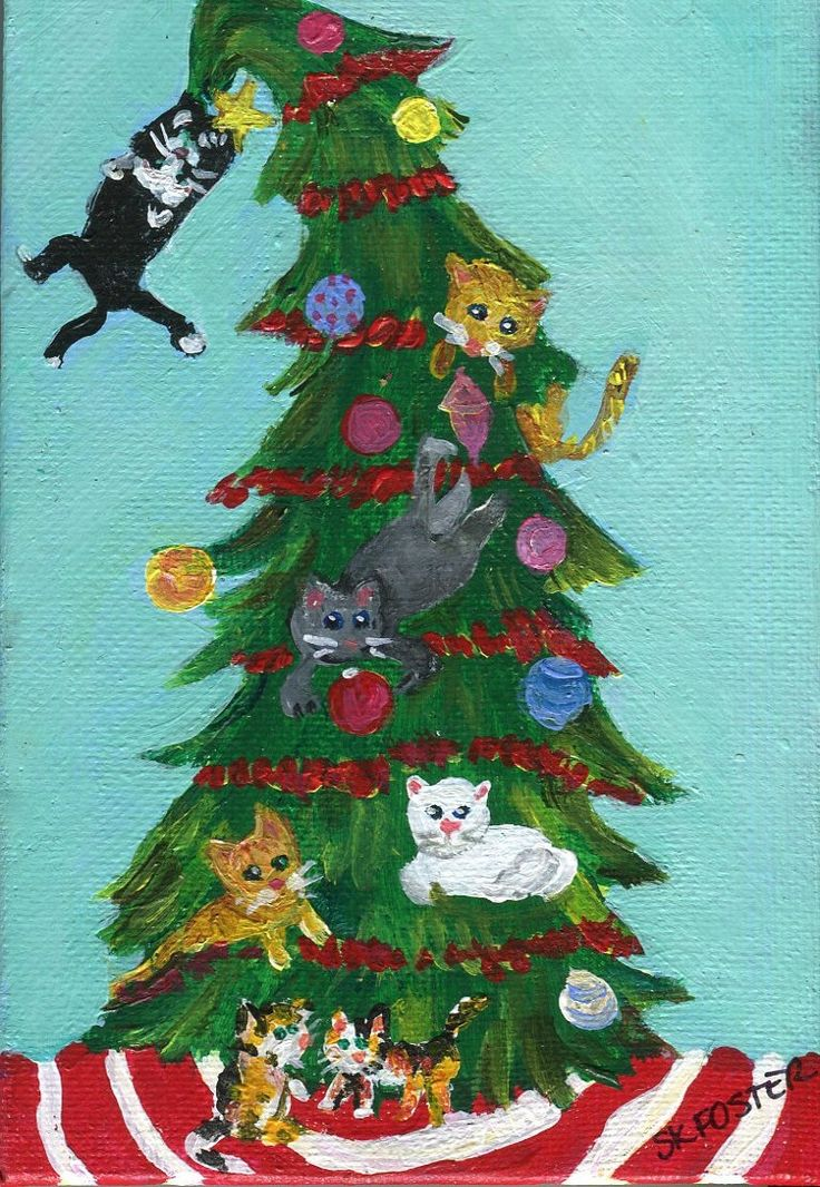 Christmas Cats painting, Cats in Christmas Tree Painting on Canvas panel 4 x 6, acrylic painting canvas art, cat holiday decor by SharonFosterArt on Etsy