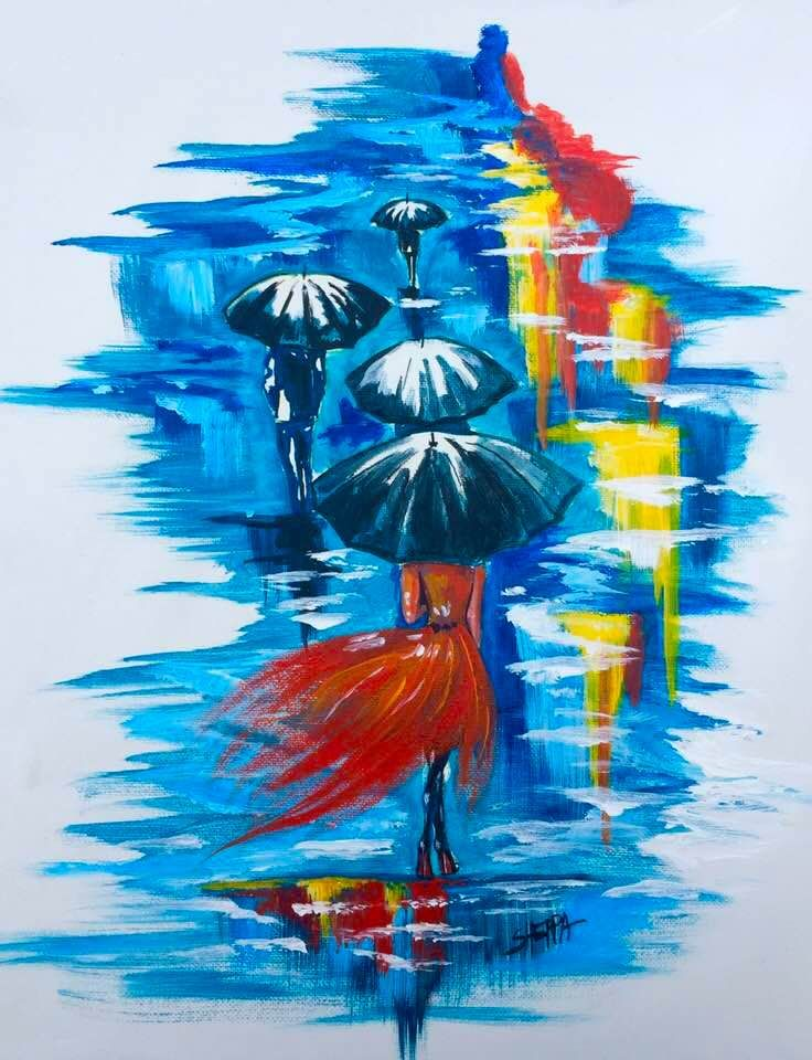 Girl Walking In The Rain Easy Acrylic Painting Idea Step By Step
