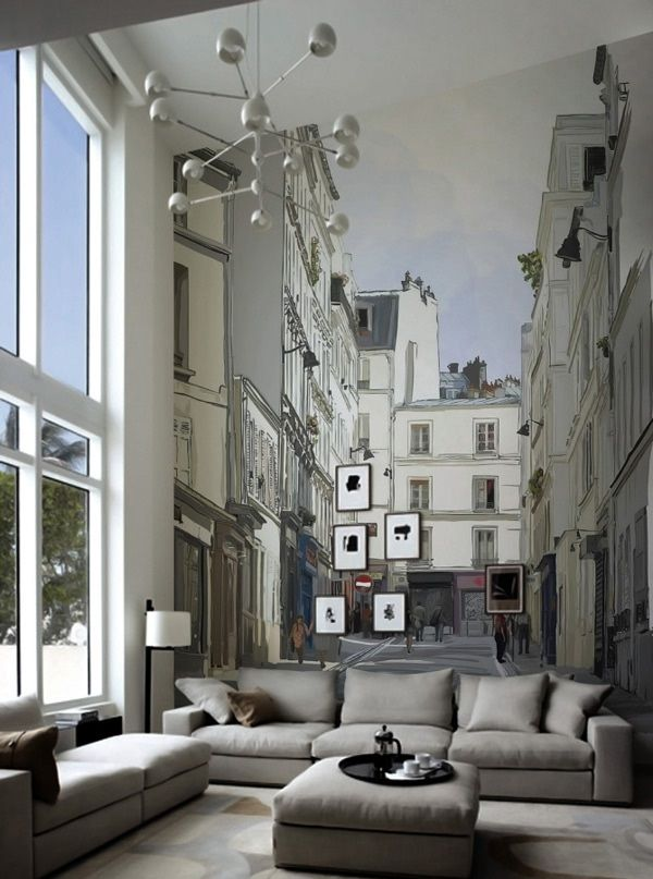 Top 10 Cities Inspired Murals for Living Room
